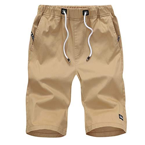 Morran Herren Sommer Kurze Jeans Cargo Shorts Jogger Kurze Hose Basic 3/4 Freizeit Sport Fünf-Cent-Hosen Baumwolle mit Gürtel Strand Kurze Hosen(Gelb,XXXXXL) (4 3 Hose)