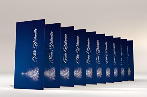 """Weihnachtskarten mit Umschlag, 50er Set Motiv """"Verträumter Lichterbaum BLAU"""", Klappkarten selbst bedruckbar"""