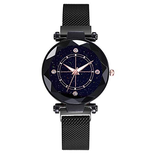TWISFER Damen Uhren Frauen Mode Diamant schneiden Sternenhimmel Zifferblatt Mesh Magnetschnalle Riemen Armband Armbanduhr Bracelet Women Watches