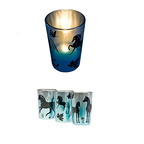 Teelichtgläser 'Pferde' blau-metallic 3er Set Teelichthalter