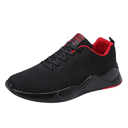 CUTUDE Gewebte atmungsaktive Outdoor Sneaker Schuhe für Herren Wild Casual Soft Bottom Mesh-Schuhe Laufschuhe Air Sportschuhe Frühling Sommer (Rot, 40 EU)