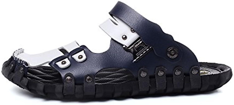 Sunny&Baby Sandalias de Playa para Hombres Zapatillas de Cuero de Microfibra Ligeras y Cerradas Resistente a la...