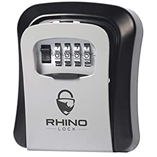 Rhino Lock Secure Key Combination Safe - Outdoor Heavy Duty Wall Mounted Security Lock Box - Large Internal Storage for House or Office Keys with Strong 4 Digit Lock #UKBrand (Medium, Grey)