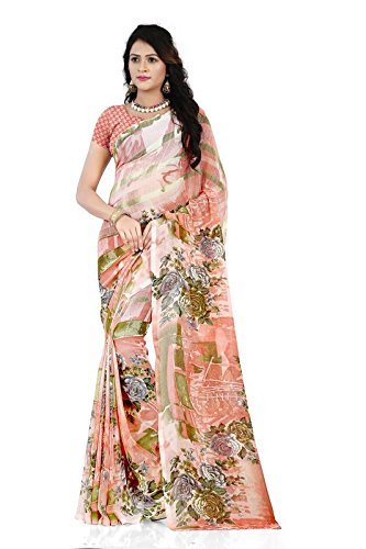 Anand Sarees Georgette Saree with Blouse Piece (1287_Orange_Free Size)