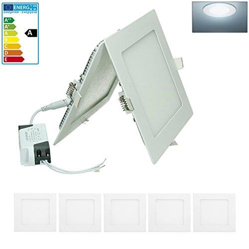 ECD Germany 5-er Pack LED Einbaustrahler 12W - Panel Deckenstrahler ultraslim - 220-240V - SMD 2835-17 x 17 cm - kaltweiß 6500K - eckiger Einbauleuchten Spot für Flur, Bad oder Küche