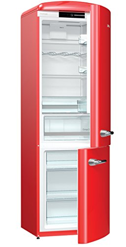 Gorenje ORK 193 RD Kühl-Gefrier-Kombination / A+++ / Höhe 194 cm / Kühlen: 227 L / Gefrieren: 95 L / fire red / FrostLess / CrispZone / Oldtimer / Retro Collection