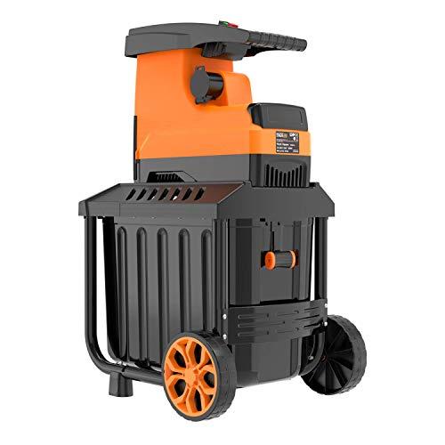TACKLIFE Gartenhäcksler, Elektrischer Walzenhäcksler 2800W, Max. 45mm Aststärke mit 60 L robuste Auffangbox Ideal für den Heim- und Gartengebrauch, PWS01A