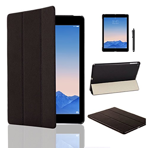 MOFRED® Black Ultra Slim Apple iPad Air 2 (Launched Oct. 2014) Leather Case Cover, Full Protection Smart Cover for iPad Air 2 iPad 6th Generation With Magnetic Auto Wake & Sleep Function + Screen Protector + Stylus Pen Test