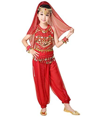 Anguang Kinder Mädchen Bauchtanz Kostüm Indische Tanz Bauchtanzanzüge Rot#2 2XL