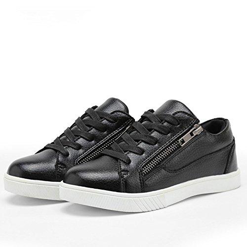 Jungen Frühling Moderne Synthetik Obermaterial Flach Gummi Sohle Schnürsenkel und Reißverschluss an der Seite Lässige Sneaker Schuhe Schwarz