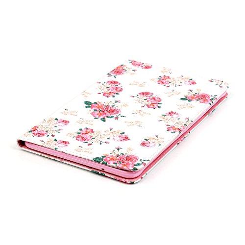 Samsung Galaxy Tab A Hülle,Samsung Galaxy Tab T550 Ledertasche - Felfy PU Ledertasche Luxe Bookstyle Flip Standfunktion Magnetverschluss Ledertasche Muster Möwe Eule Schmetterling AugeBunte Malerei Re Rosa Rosa