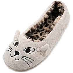 SlumberzzZ zapatillas con cara de gato, para mujer, interior con diseño de Leopardo, Forrado de felpa, color beige, talla 40-41 EU