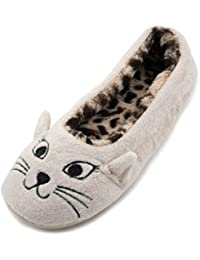 SlumberzzZ zapatillas con cara de gato, para mujer, interior con diseño de Leopardo, Forrado de felpa