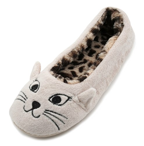 Slumberzzz Ladies Leopard Print Plush Lined Cat Face Slippers Beige 5-6 UK