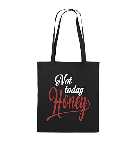 Comedy Bags - Not today Honey - Jutebeutel - lange Henkel - 38x42cm - Farbe: Schwarz / Weiss-Neongrün Schwarz / Weiss-Rot