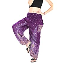 CandyHusky Mujeres pluma del pavo real de impresión Harem Hippie Boho Harem cintura rayón alforzada Un tamaño