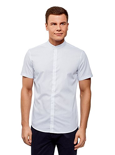 Oodji ultra uomo camicia in cotone con maniche corte, bianco, 41cm/it 48/eu 41/m