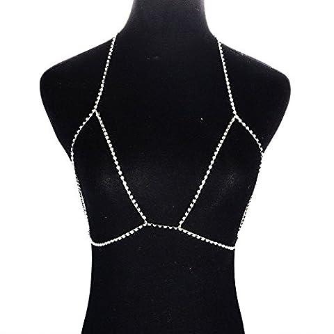 HapiLeap Women Rhinestone Body Chains Jewelry Unique Bikini Bra Pendant Necklace (Silver)