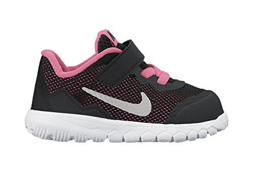 Nike Flex Experience 4 Tdv, Chaussures Premiers Pas pour Bébé Fille, 26.0 EU Multicolore - Multicolore (Black/Metallic Silver/Pink Pow)