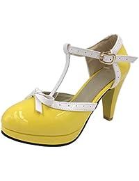 d18ec7f5963 YE Escarpin Talon Haut Plateforme Mary Jane Boucle Cheville Rockabilly Ete  Femme Vernis Noeud Chaussure Cosplay
