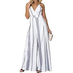 Femmes V-cou Sangle Combinaisons Dos Dos Jumpsuit Sans Manches Renversé Rayé Playsuit Partie Pantalon Gris S