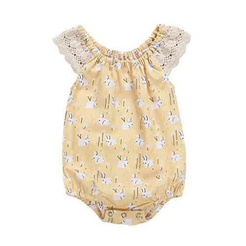 Pwtchenty Baby Neugeborenes Lace Spitze Kaninchen SchöN Drucks Bekleidungs Set Kurzarm Babybody FüR MäDchen Overalls (80, ()