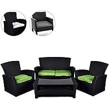 Rattan Set 4tlg Mit Glastisch Grün Garnitur Gartenmöbel Sitzgruppe Poly  Rattan Inklusive Höhenverstellbare Füße Und Sicherheitsglas