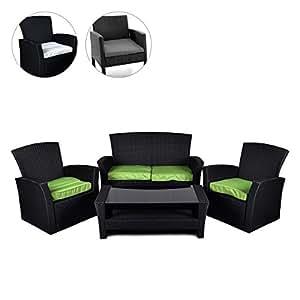 nexos rattan set 4tlg mit glastisch gr n garnitur gartenm bel sitzgruppe poly rattan. Black Bedroom Furniture Sets. Home Design Ideas