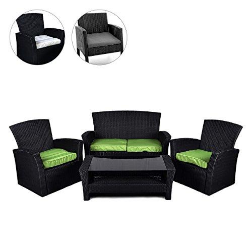 Rattan Set 4tlg mit Glastisch grün Garnitur Gartenmöbel Sitzgruppe Poly Rattan inklusive höhenverstellbare Füße und Sicherheitsglas 4-sitzer 4-teilig
