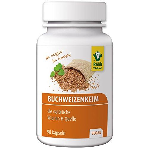 Raab Vitalfood Buchweizenkeim-Kapseln, gekeimt, laborgeprüft, vegan, glutenfrei, 90 Stück, Nahrungsergänzung mit Vitamin-B-Komplex, Buchweizen-Pulver, hergestellt in Deutschland, 1er Pack (54 g) - B-komplex 90 Kapseln