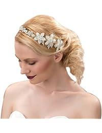 CLOCOLOR Tocados de cristales perlas para mujer joya de pelo de novia de boda joyería nupcial de pelo Diadema cinta Adornos de Pelo para mujer plateado Talla única