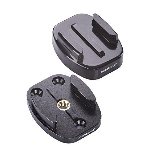 Mantona 21289 GoPro Schnellwechselplatten Set (2 Adapter 1/4 Zoll auf GoPro Schnellwechselsystem, für GoPro Hero 6 5 4 3+ 3 2 1 und andere kompatible Action Cams) schwarz