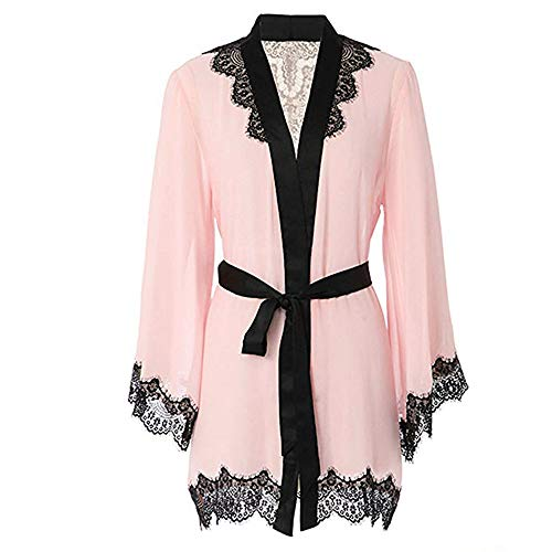 ZIYOU Damen Perspektive Spitze Patchwork Langarm Nachthemd Bademantel Dessous Mit Gürtel(Rosa,Medium)