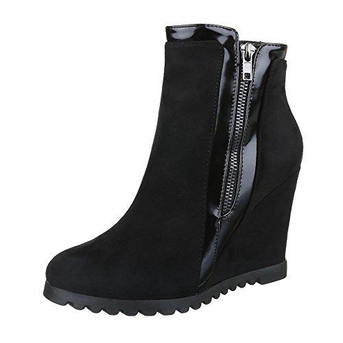 Keilstiefeletten Damen Schuhe Plateau Keilabsatz/ Wedge Keilabsatz Reißverschluss Ital-Design Stiefeletten Schwarz, Gr 40, Rmd2081-