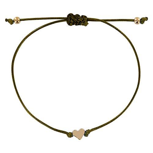 JAHAMOTA Filigranes Armband Damen mit Herz | Textil Handmade | Mit Zertifikat Freundin -