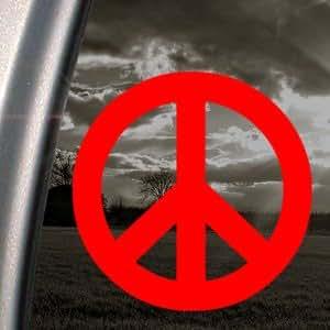 peace zeichen rot aufkleber symbol auto truck window sticker rot auto. Black Bedroom Furniture Sets. Home Design Ideas