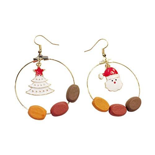 SHUCHANGLE Frauen Ohrringe Trendige Elegante Asymmetrische Weihnachtsbaum Weihnachtsmann Form Weihnachten Ohrring Ohrstecker Für Hochzeit Geschenk Erklärung Ohrring
