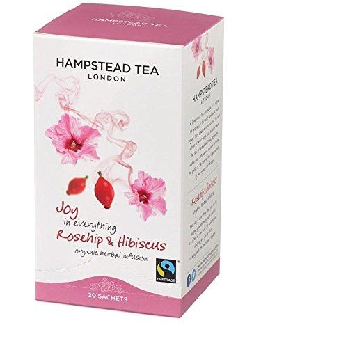 HAMPSTEAD TEA Bio Hagebutte-Hibiskusblüten-Tee 20 Teebeutel 30 g Tee-hibiscus Hagebutte