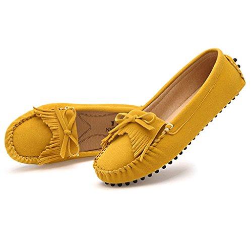 Oriskey Damen Mokassin Bootsschuhe Wildleder Loafers Schuhe Flache Fahren Halbschuhe Slippers Gelb Omjv7bW