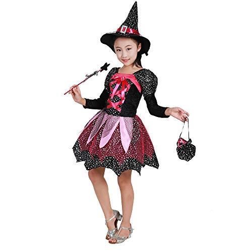 stüm - Halloween Kostüm Mädchen Kleine Hexe Cosplay Kleidung Nettes Mädchen Kostüm (Farbe : Schwarz, größe : 150cm) ()