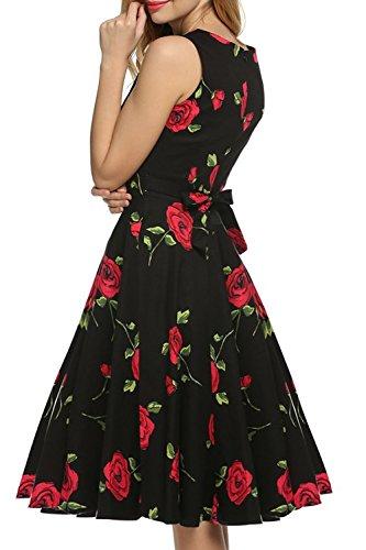 Babyonlinedress Robe de soirée/Cocktail Courte Rétro Vintage année 1950 sans Manches avec Ceinture à l'Impression Fleur Rose Pourpre