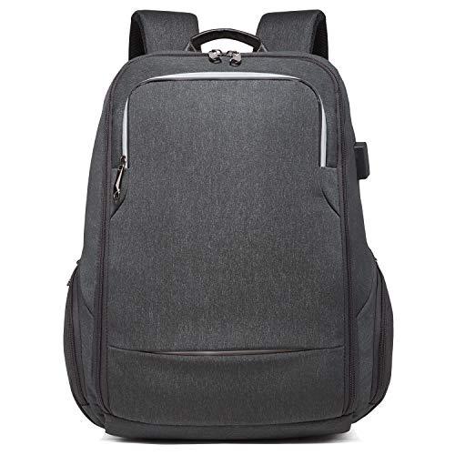DONZ Herren Damen Laptop Rucksack 15,6 Zoll Rucksack Diebstahlschutz mit USB Ladeport Wasserdicht Schulrucksack Business, Reisen, Camping,Black