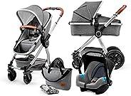 Kinderkraft Barnvagn 3-i-1 VEO, Travel System, Sittvagn, Resevagn, Hopfällbar, Med babyskydd, Liggdel, Tillbeh