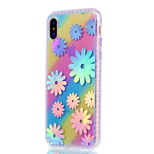 Custodia iphone X 5.8, iphone 10 Cover Glitter, Ekakashop Cover Morbido Sparkly Bling Bling Glitter TPU Silicone Gomma Soft Cover, Belle Bello Trasparente Crystal Clear Protettiva Back Cover Case Cus A-Margherita