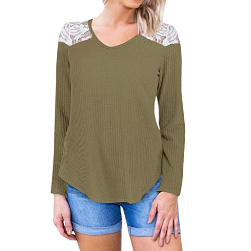 Caixukun LäSsige Stretch Damen Plus Size Solide Bluse Lace Splice Shirt V-Ausschnitt Pullover Langarmshirts Casual Waffel Strickpullover Top - Solide Waffel
