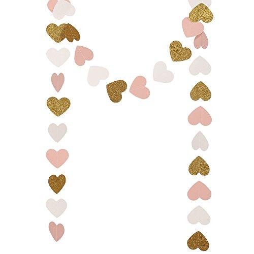Cosanter 3M Heart-Shaped Luftschlangen Pappe Pull Blume Hängenden Tissue Garland String Decor Karton Banner Hängenden Ammern Girlande Banner Party-Zubehör