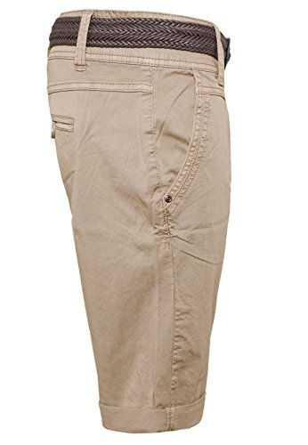 Fresh Made Sommer-Hose Bermuda-Shorts für Frauen | kurze Chino-Hose mit Flecht-Gürtel | Basic Shorts aus Baum-Wolle Light-Brown