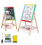 Lukzer 2 in 1 Double Sided Black and White Wooden Board for Kids