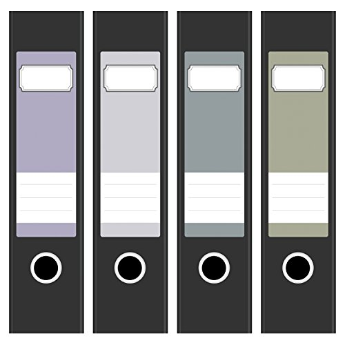 4 x farbige Design Akten-Ordner Etiketten / Aufkleber / Rücken Sticker / Farben im Mix Vintage Farben Pastell / für breite Ordner / selbstklebend / 6cm breit