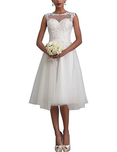 Aurora dresses Damen Hochzeitskleider Spitze Knielänge Appliques Abendkleider Elegant Brautkleid...